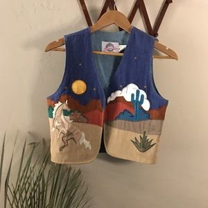 Vintage Southwest folk art patch embroidered vest